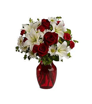 Jarr n de rosas liliums y margaritas a domicilio con - Fotos jarrones con flores ...