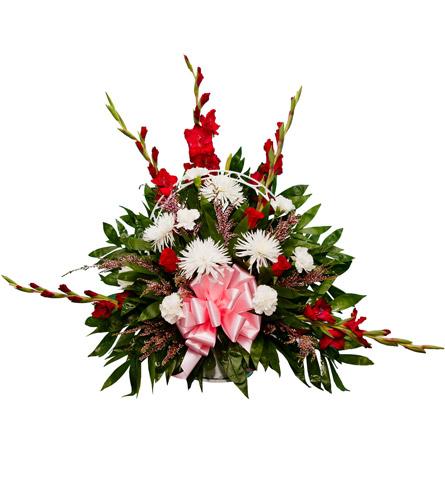 Arreglo Funerario Con Rosas Claveles Y Gladiolos