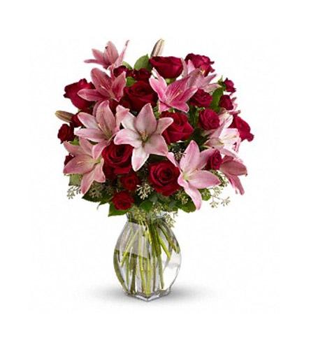 Jarrón de rosas y lilium premium a domicilio con Flores4you.