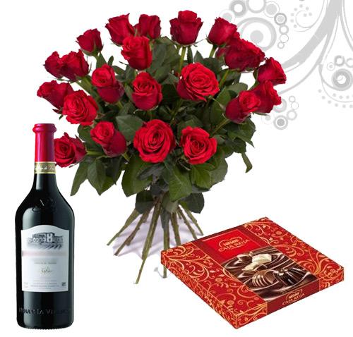 ramo de rosas rojas bombones vino - Imagenes De Ramos De Rosas